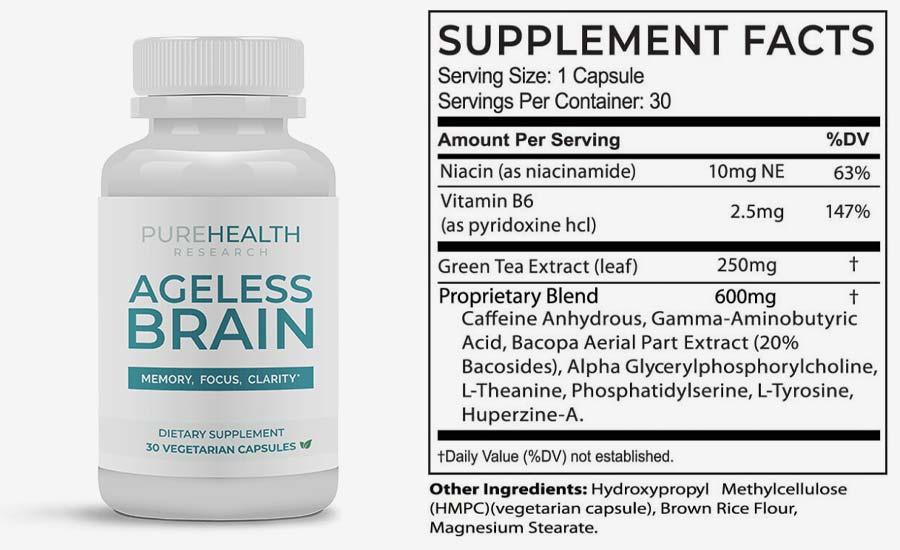 purehealths ageless brain formula reviews safe ingredients